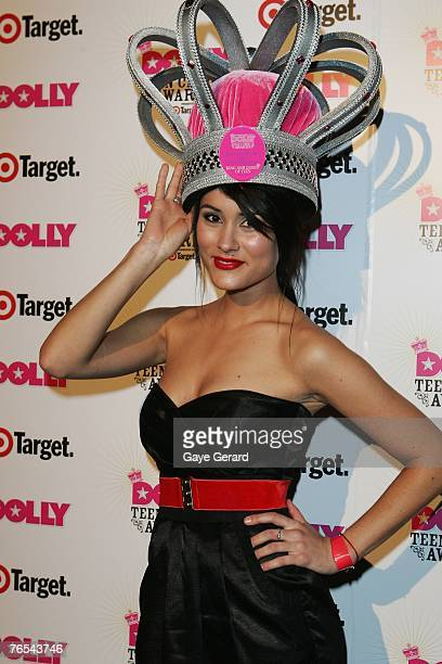Neighbours Cast Member Natalie Blair celebrates her win on stage at the Dolly Teen Choice Awards at Luna Park on September 5 2007 in SydneyAustralia