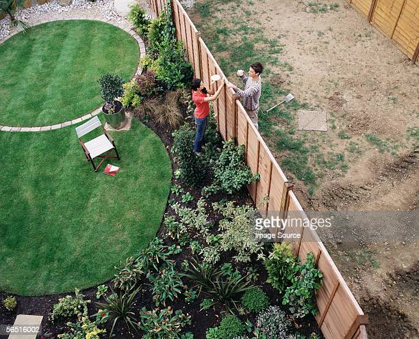 neighbours having coffee over the fence - hek stockfoto's en -beelden