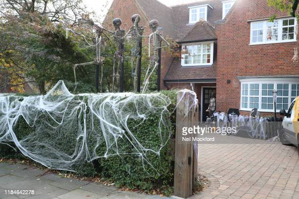 Neighbours of Jonathan Ross's North London home decorate their houses ahead of his annual Halloween party on October 31, 2019 in London, England.