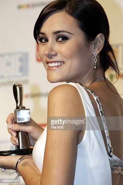 'Neighbours' star Natalie Blair with her award at the Logies at the Crown Casino in Melbourne 1 May 2005 THE AGE Picture by ANGELA WYLIE