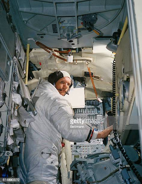 Neil A Armstrong commander for the Apollo 11 moon landing mission practices for the historic event in a lunar Module simulatator in the Flight Crew...