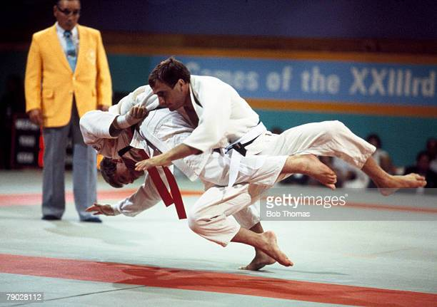 Neil Adams of Great Britain competes against Rob Henneveld of the Netherlands in the Men's half middleweight Judo event at the 1984 Summer Olympics...