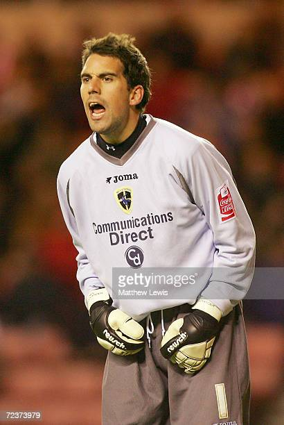 Neil Alexander of Cardiff City shouts during the CocaCola Championship match between Sunderland and Cardiff City at the Stadium of Light on October...