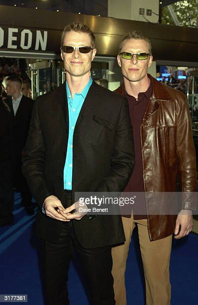 Neil and Adrian Rayment also known as 'The White Twins' arrive at the UK Premiere of 'XMen 2' at The Odeon Leicester Square April 24 2003 in London