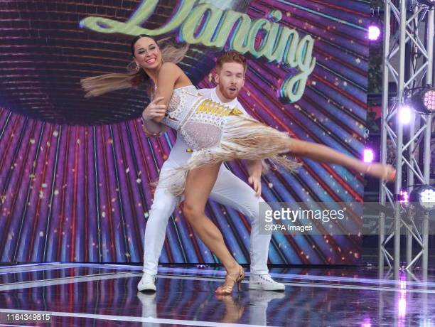 Neil and Katya Jones perform onstage during the BBC Strictly Come Dancing Launch at Broadcasting House in London