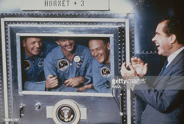 Neil Armstrong Michael Collins and Edwin Aldrin the crew of the historic Apollo 11 moon landing mission who are are subjected to a period of...