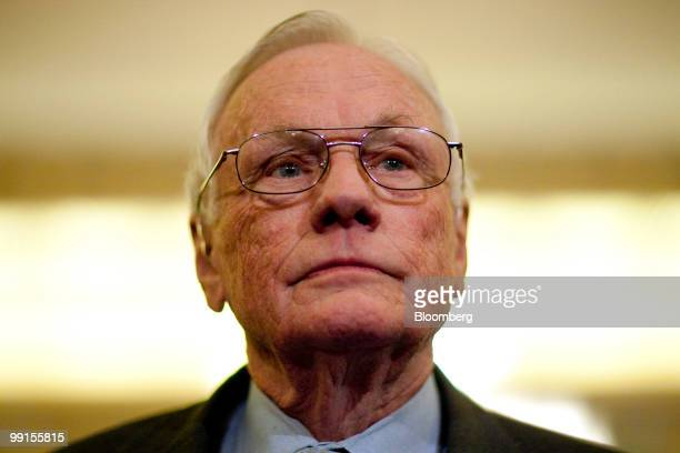 Neil Armstrong retired astronaut and commander of the Apollo 11 mission arrives to a Senate Commerce Science and Transportation Committee hearing on...