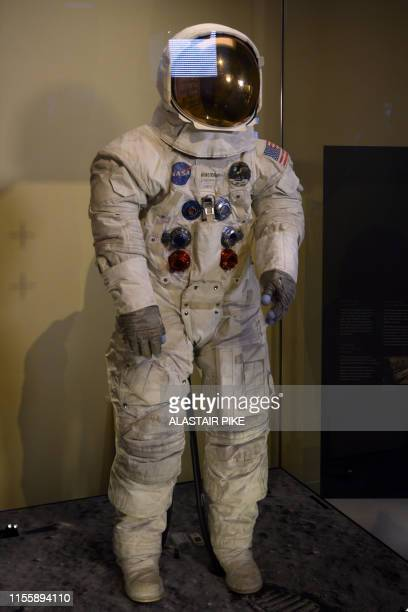 Neil Armstrong's Apollo 11 spacesuit is seen after being unveiled for the first time in thirteen years at the Smithsonian National Air and Space...