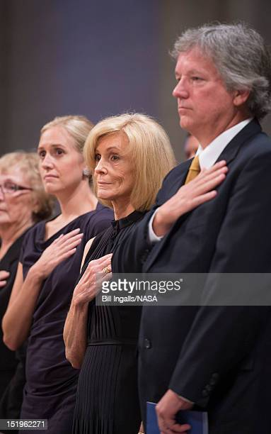 Neil Armstrong's wife Carol Armstrong and son Rick Armstrong attend a memorial service for astronaut Neil Armstrong at the National Cathedral...