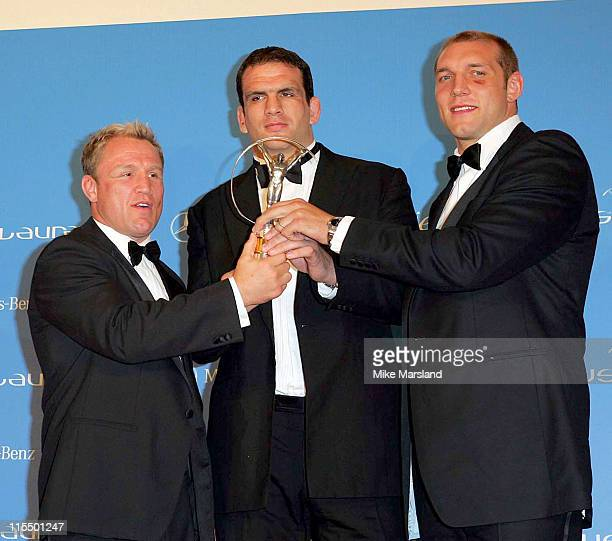 Neil Back Martin Johnson and Ben Kay with the Laureus World Team of the Year Award