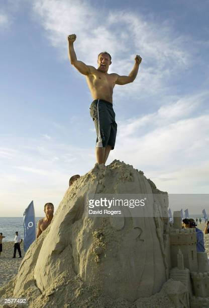 Neil Back the England flanker stands king of the Castle at the O2 Beach Party at North Cottesloe Beach on October 10, 2003 in Perth, Australia.