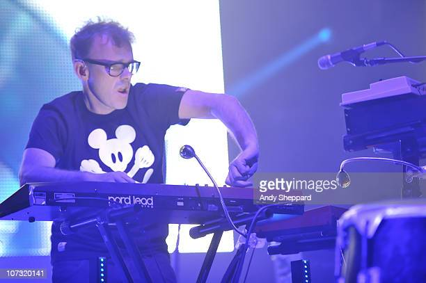 Neil Barnes of Leftfield performs on stage at Brixton Academy on December 3 2010 in London England