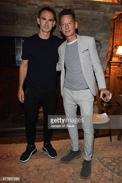 Neil Barrett and Jim Nelson attend GQ Party for Jim Moore during Milan Menswear Fashion Week Spring/Summer 2016 at Casa Degli Atellani on June 20...