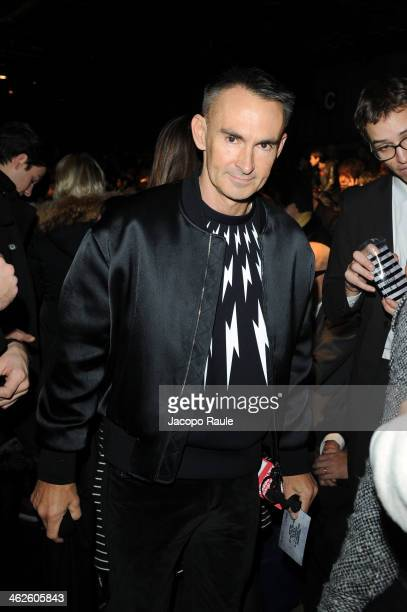 Neil Barrett attends the Dsquared2 show as a part of Milan Fashion Week Menswear Autumn/Winter 2014 on January 14 2014 in Milan Italy