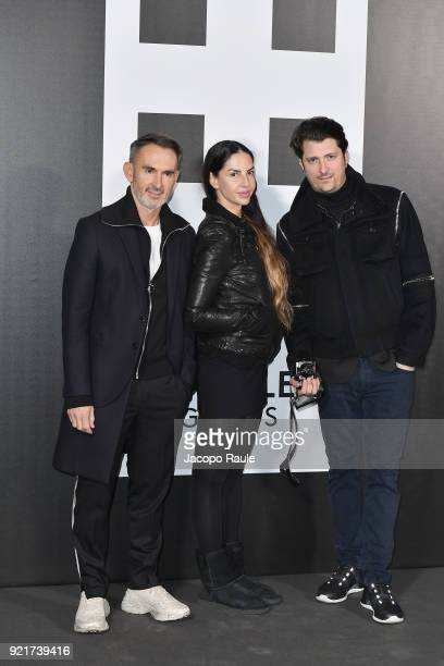 Neil Barrett Benedetta Mazzini and Corto Moltedo are seen at the Moncler Genius event during Milan Fashion Week Fall/Winter 2018/19 on February 20...