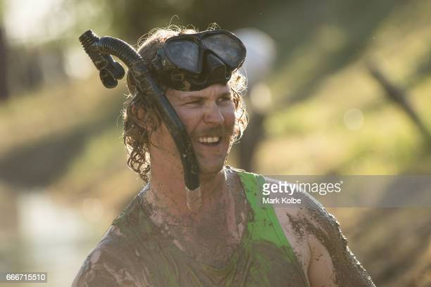 Neil Batt looks on as he prepares to race during a media opportunity at the bog snorkelling pit at the Dirt 'n' Dust Festival 2017 on April 8 2017 in...
