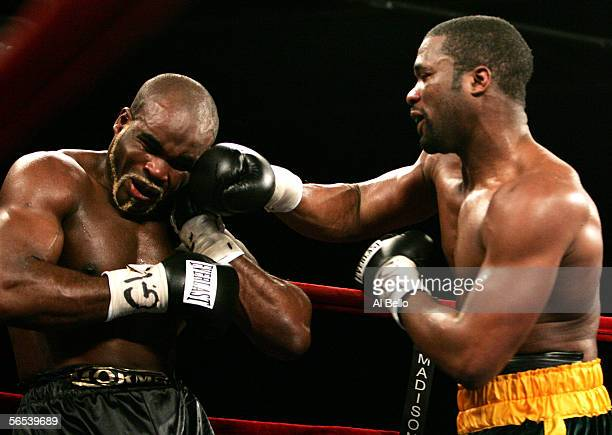 Neil Bell connects with a right hand hook to the head of JeanMarc Mormeck during their World Cruiserweight Championship unification fight at Madison...
