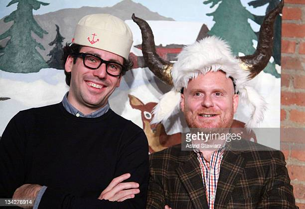 Neil Blumenthal and Anthony Sperduti attend Warby Parker's holiday spectacle bazaar leftover launch on November 29 2011 in New York City