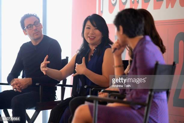 Neil Blumenthal, Shan-Lyn Ma, and Stephanie Mehta speak onstage during Vanity Fair's Founders Fair at the 1 Hotel Brooklyn Bridge on April 20, 2017...