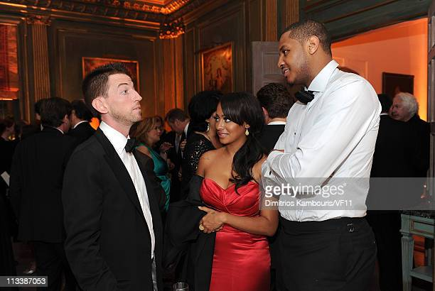 Neil Brennan Lala Vasquez and Carmelo Anthony attend the Bloomberg Vanity Fair cocktail reception following the 2011 White House Correspondents'...