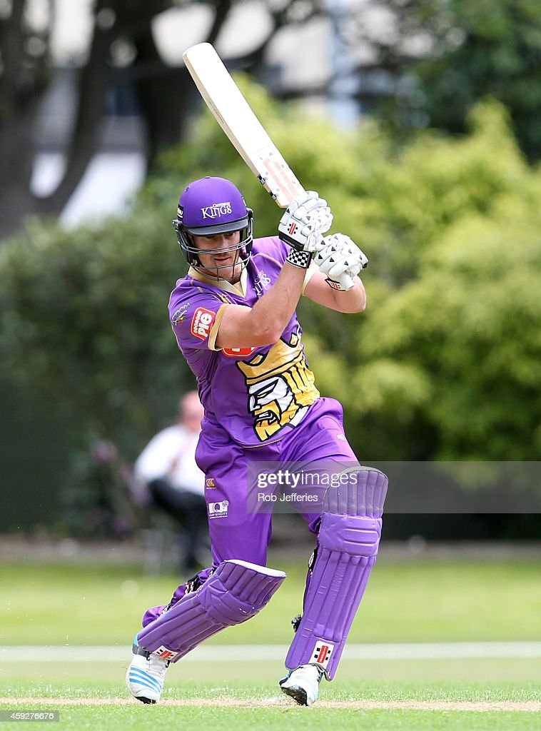 Neil Broom of Canterbury bats during the Georgie Pie Super Smash T20 match between the Otago Volts and the Canterbury Kings at University Oval on November 20, 2014 in Dunedin, New Zealand.