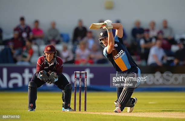 Neil Broom of Derbyshire bats during the NatWest T20 Blast match between Northamptonshire and Derbyshire at The County Ground on May 27 2016 in...