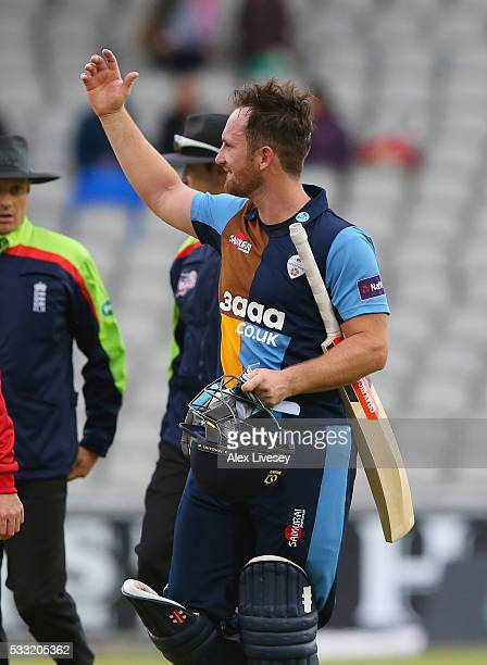 Neil Broom of Derbyshire celebrates after their victory in the NatWest T20 Blast between Lancashire and Derbyshire at Old Trafford on May 21 2016 in...