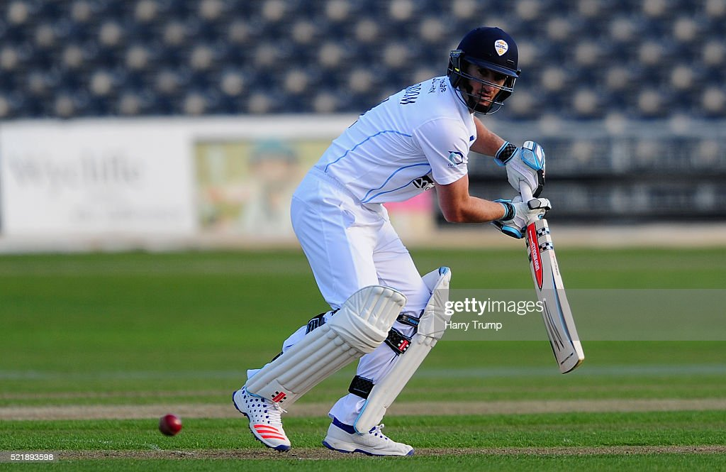 Neil Broom of Derbyshire cuts the ball during Day One of the Specsavers County Championship Division Two match between Gloucestershire and Derbyshire at The County Ground on April 17, 2016 in Bristol, England.