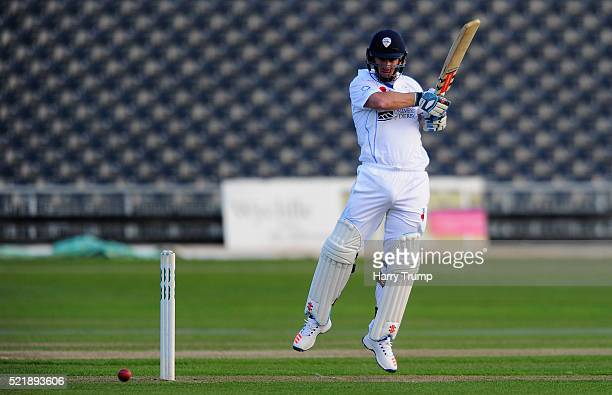 Neil Broom of Derbyshire cuts the ball during Day One of the Specsavers County Championship Division Two match between Gloucestershire and Derbyshire...