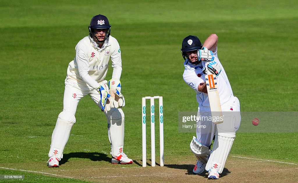 Neil Broom of Derbyshire drives the ball during Day One of the Specsavers County Championship Division Two match between Gloucestershire and Derbyshire at The County Ground on April 17, 2016 in Bristol, England.