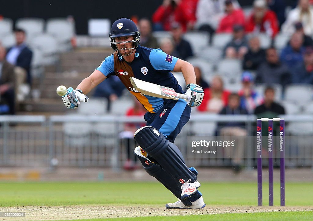Neil Broom of Derbyshire in action during the NatWest T20 Blast between Lancashire and Derbyshire at Old Trafford on May 21, 2016 in Manchester, England.
