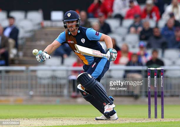 Neil Broom of Derbyshire in action during the NatWest T20 Blast between Lancashire and Derbyshire at Old Trafford on May 21 2016 in Manchester England