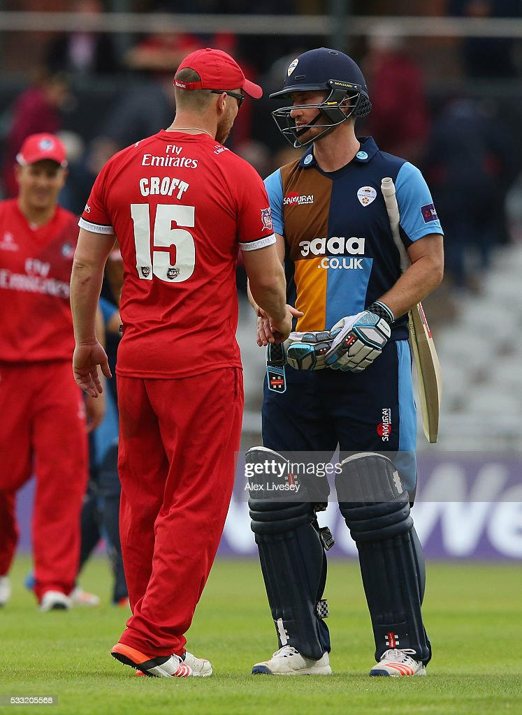 Neil Broom of Derbyshire shakes hands with Steven Croft of Lancashire after the NatWest T20 Blast between Lancashire and Derbyshire at Old Trafford on May 21, 2016 in Manchester, England.