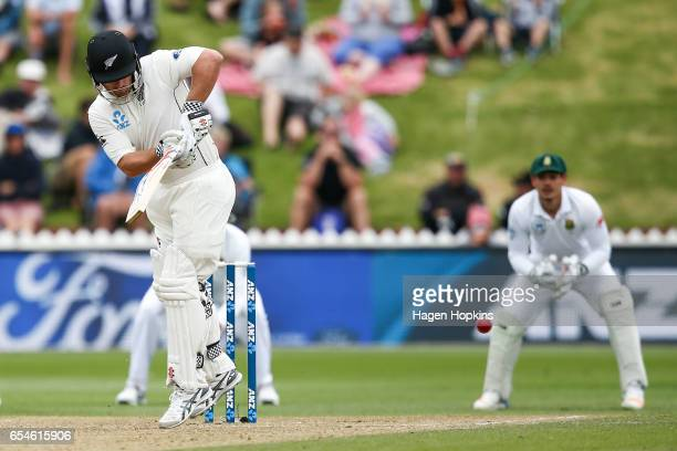 Neil Broom of New Zealand bats during day three of the test match between New Zealand and South Africa at Basin Reserve on March 18 2017 in...
