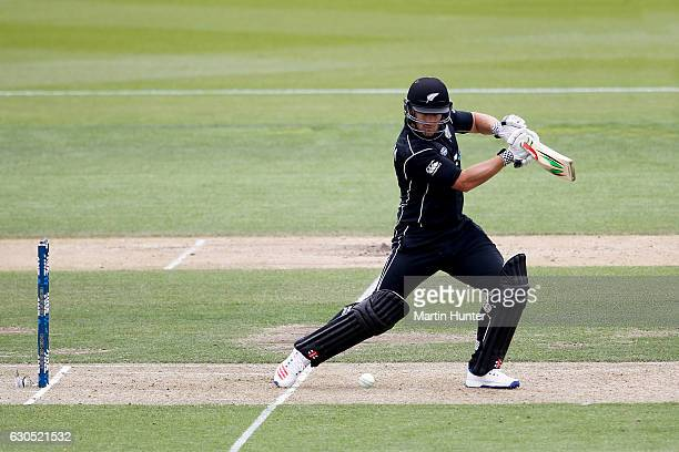 Neil Broom of New Zealand bats during the first One Day International match between New Zealand and Bangladesh at Hagley Oval on December 26 2016 in...