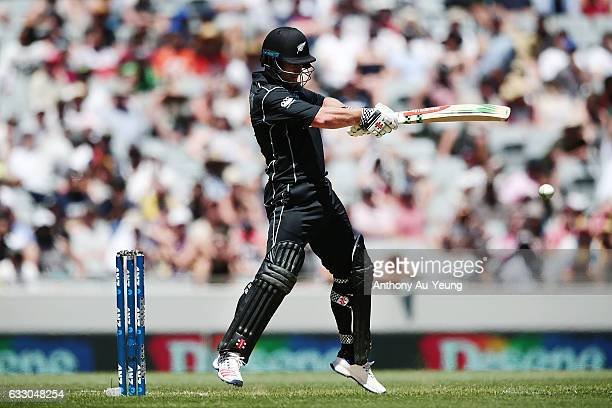 Neil Broom of New Zealand bats during the first One Day International game between New Zealand and Australia at Eden Park on January 30 2017 in...