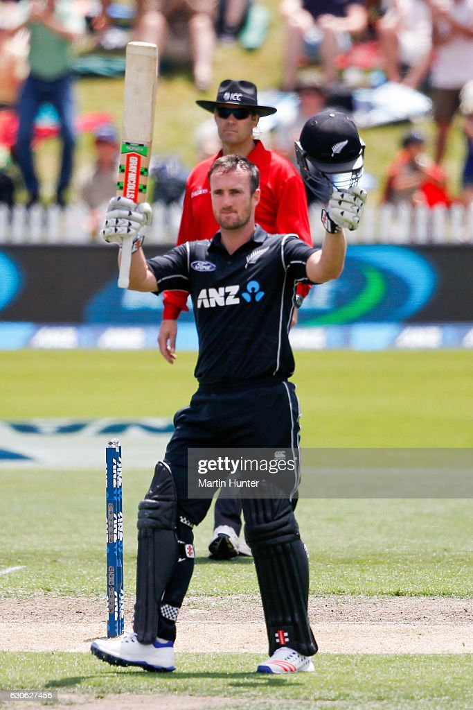 Neil Broom of New Zealand celebrates after reaching a century during the second One Day International match between New Zealand and New Zealand and Bangladesh at Saxton Field on December 29, 2016 in Nelson, New Zealand.