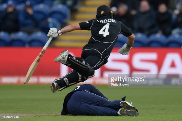 Neil Broom of New Zealand collides with Jason Roy of England during the ICC Champions Trophy match between England and New Zealand at Swalec stadium...