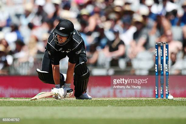 Neil Broom of New Zealand loses his footing as he bats during the first One Day International game between New Zealand and Australia at Eden Park on...