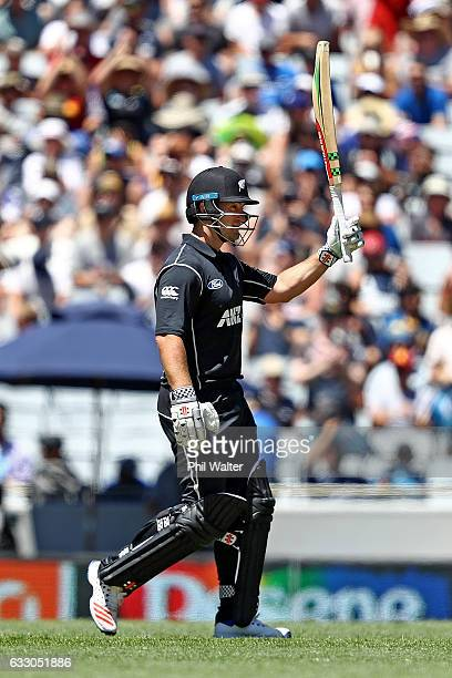 Neil Broom of New Zealand makes 50 runs during the first One Day International game between New Zealand and Australia at Eden Park on January 30 2017...