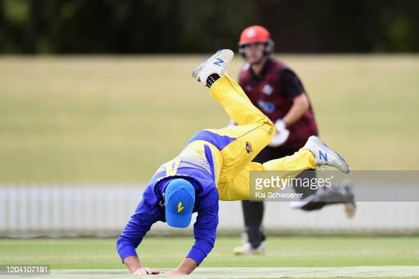 Neil Broom of Otago fields the ball during the Ford Trophy match between Canterbury and Otago at Hagley Oval on February 05 2020 in Christchurch New...