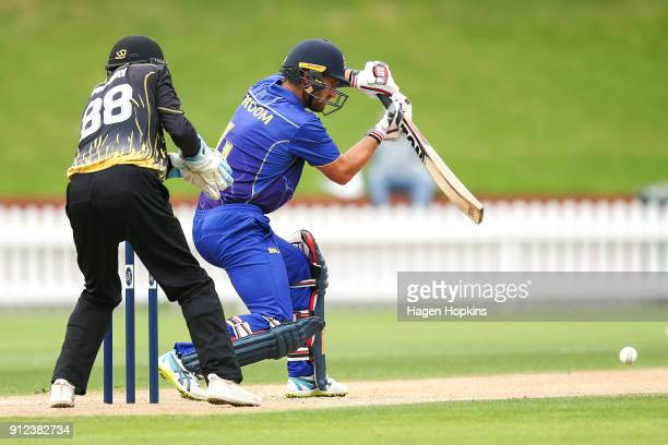 Neil Broom of the Volts bats during the Ford Trophy match between the Wellington Firebirds and the Otago Volts at Basin Reserve on January 31 2018 in...