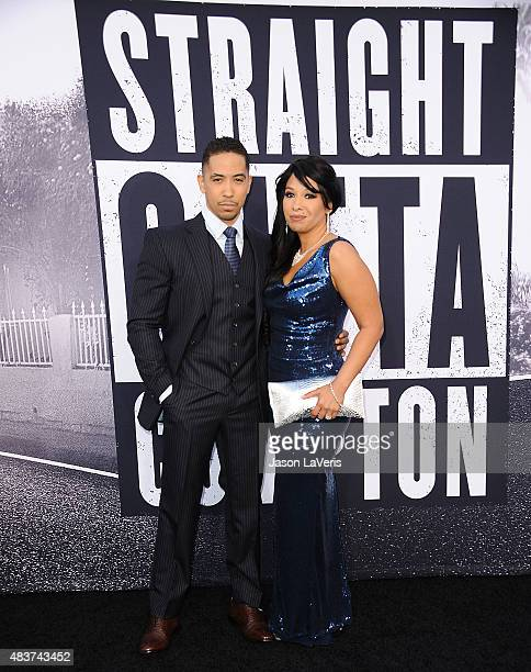 Neil Brown Jr and Catrina Robinson Brown attend the premiere of Straight Outta Compton at Microsoft Theater on August 10 2015 in Los Angeles...