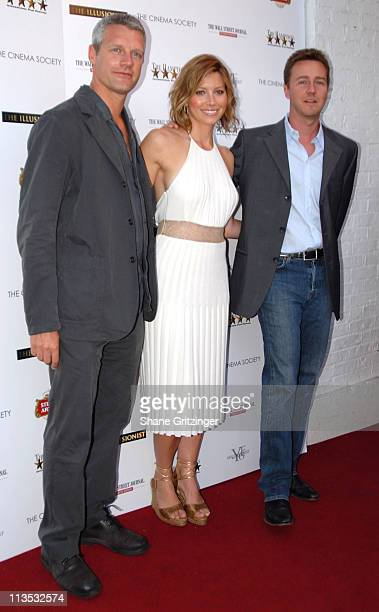 """Neil Burger, Jessica Biel and Edward Norton during The Cinema Society and The Wall Street Journal host """"The Illusionist"""" - Arrivals at Southampton UA..."""