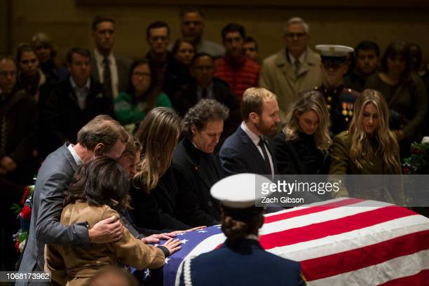 Neil Bush and his family visit the Capitol Rotunda as former US President George HW Bush lies in state on December 3 2018 in Washington DC A WWII...