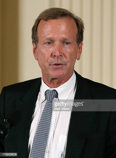 Neil Bush speaks during an event in the East Room during an event at the White House July 15 2013 in Washington DC President Barack Obama hosted the...