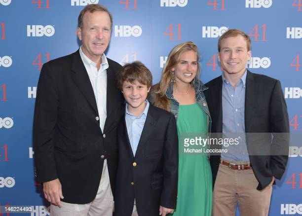 Neil Bush stepson Alexander Andrews daughter Ashley Bush and son Pierce M Bush attend the HBO Documentary special screening of 41 on June 12 2012 in...