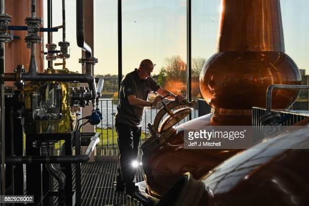 Neil Carlton senior distillery operator works in the still house at the new Clydeside Distillery on November 30 2017 in Glasgow Scotland The new...