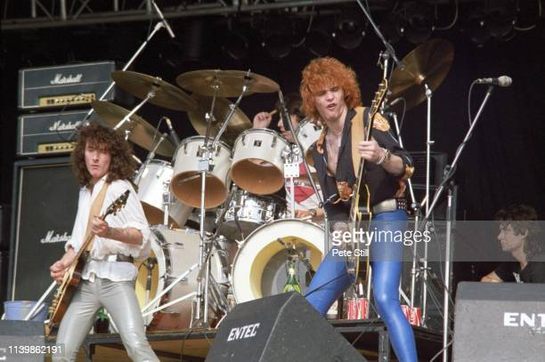 Neil Carter and former Thin Lizzy guitarist Brian Robertson of British band Wild Horses perform on stage at The Reading Festival on August 26th, 1979...