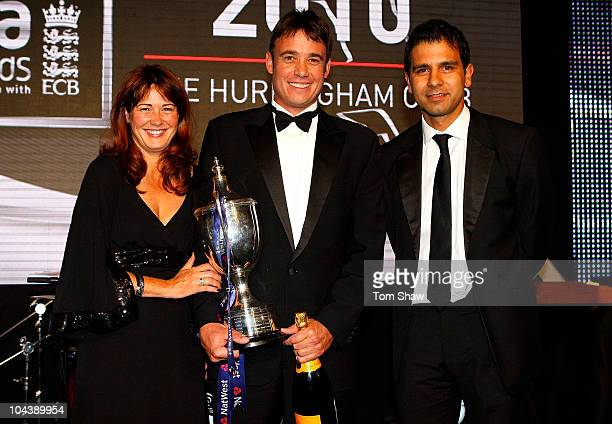 Neil Carter is presented with the Reg Hayter Cup for the NatWest PCA Player of the Year Award during the NatWest PCA Awards Dinner 2010 at The...